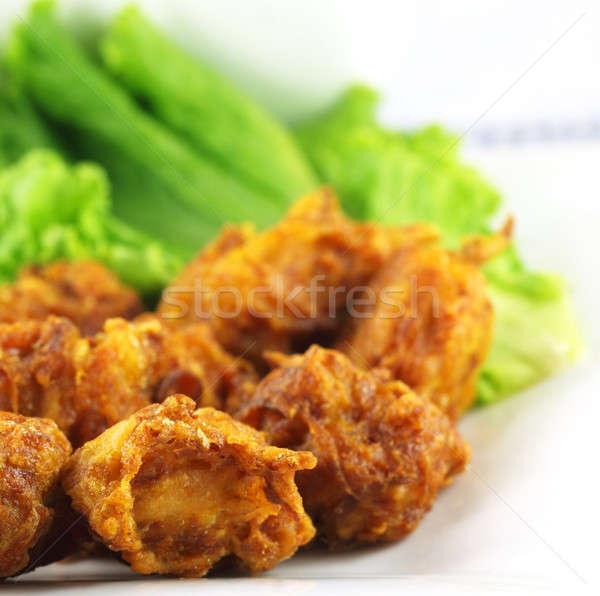 Mushroom snacks with lettuce Stock photo © bdspn