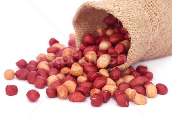 Fresh Peanuts in sack Stock photo © bdspn