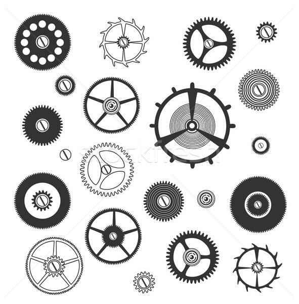 передач силуэта набор часы фон промышленных Сток-фото © bedlovskaya