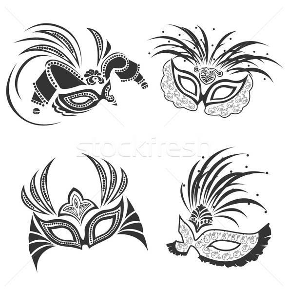carnival mask delicate openwork set Stock photo © bedlovskaya