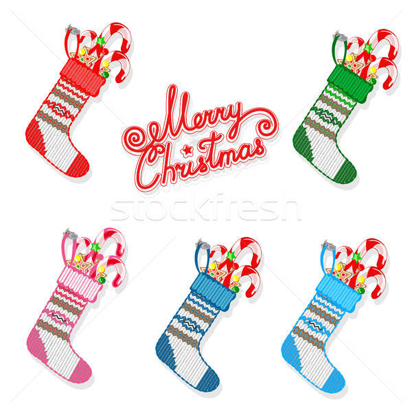 Christmas sock with sweets set Stock photo © bedlovskaya