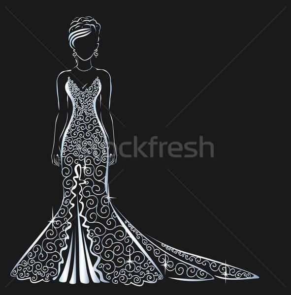 レース ドレス 輝かしい 少女 笑顔 結婚式 ストックフォト © bedlovskaya