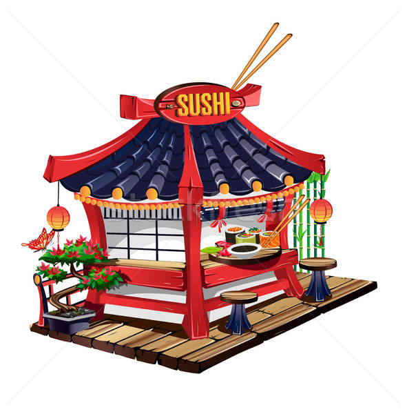 Sushi bar in cartoon style Stock photo © bedlovskaya