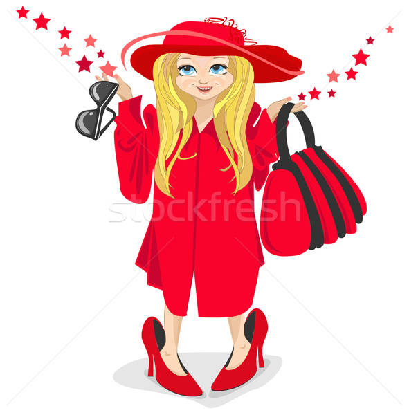 Weinig fashionista meisje glimlach mode achtergrond Stockfoto © bedlovskaya