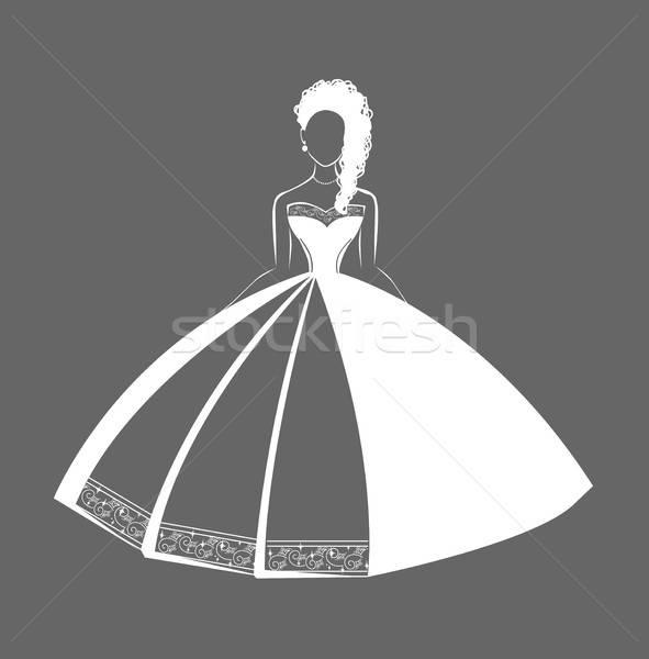 Esküvői ruha csipke elszigeteltség sziluett haj szövet Stock fotó © bedlovskaya