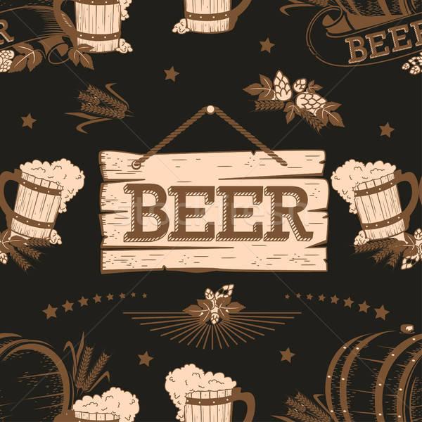 Bier vintage textuur hand partij Stockfoto © bedlovskaya