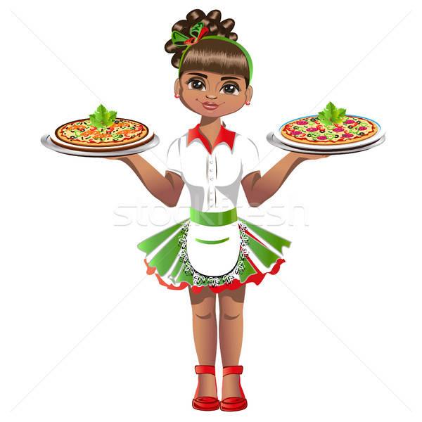 Cute serveerster vrouw werk pizza diner Stockfoto © bedlovskaya