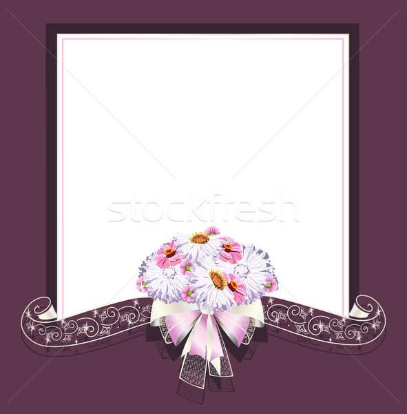 Wedding frame satinato nastri fiore carta Foto d'archivio © bedlovskaya