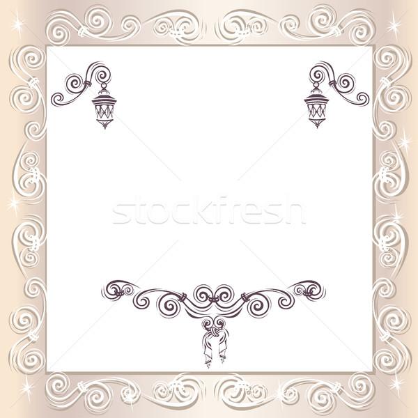 Vintage wedding frame fiore carta design Foto d'archivio © bedlovskaya