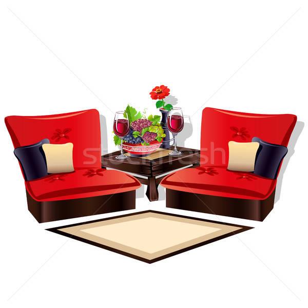 Interieur gezellig woonkamer gekleurd ontwerp stoel Stockfoto © bedlovskaya