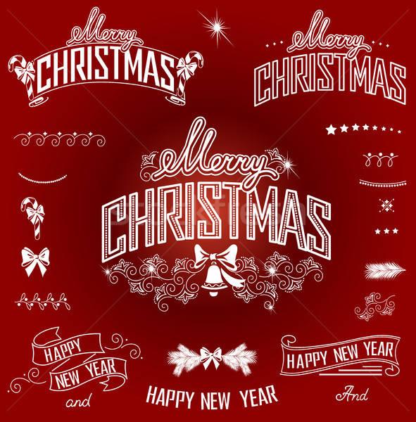 Christmas nieuwjaar ontwerp communie ingesteld Stockfoto © bedlovskaya