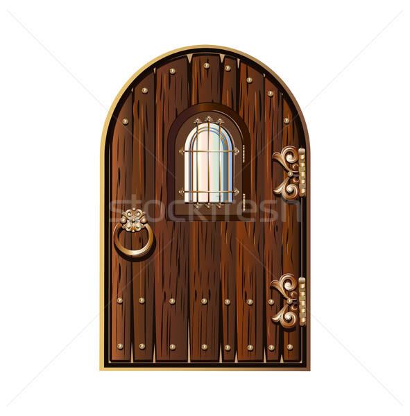 Houten deur venster ingericht goud ring Stockfoto © bedlovskaya