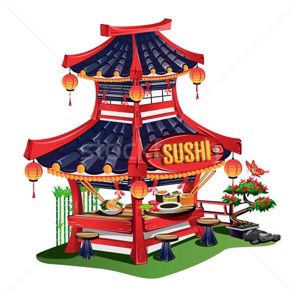 Sushi bar cartoon stile japanese cucina Foto d'archivio © bedlovskaya
