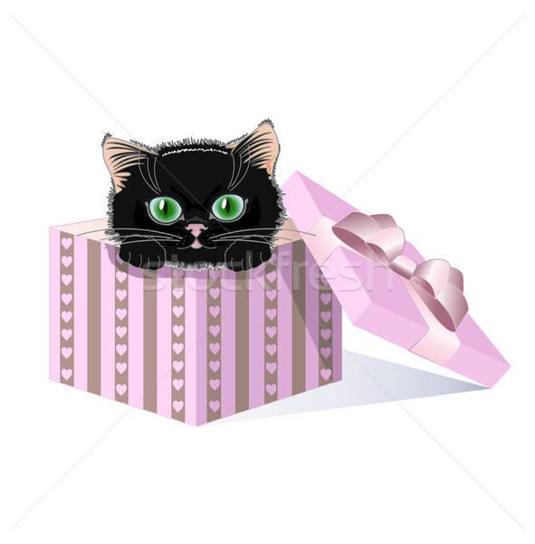 Noir chaton yeux verts coffret cadeau chat fond Photo stock © bedlovskaya