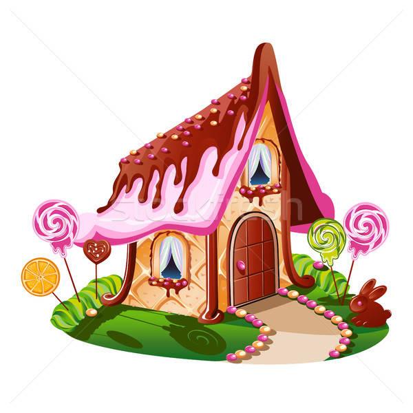 Dolce piccolo casa cioccolato decorato candy Foto d'archivio © bedlovskaya