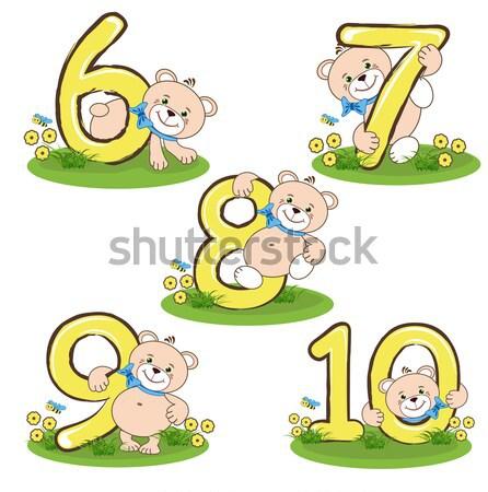 Aantal vijf vrolijk beer onderwijs Stockfoto © bedlovskaya
