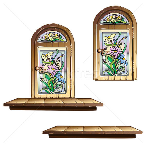 Wooden door with stained glass Stock photo © bedlovskaya