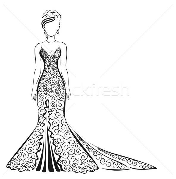 кружево платье белый девушки улыбка свадьба Сток-фото © bedlovskaya