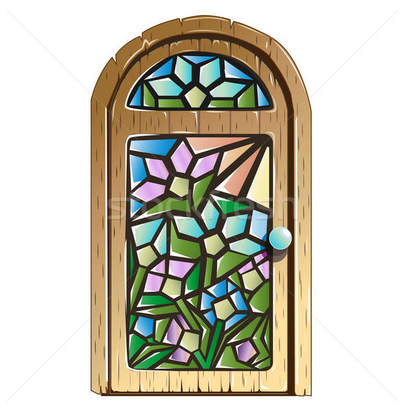 Doors with stained glass Stock photo © bedlovskaya