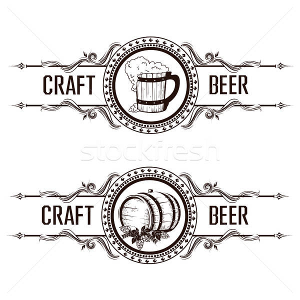 Vintage beer label Stock photo © bedlovskaya