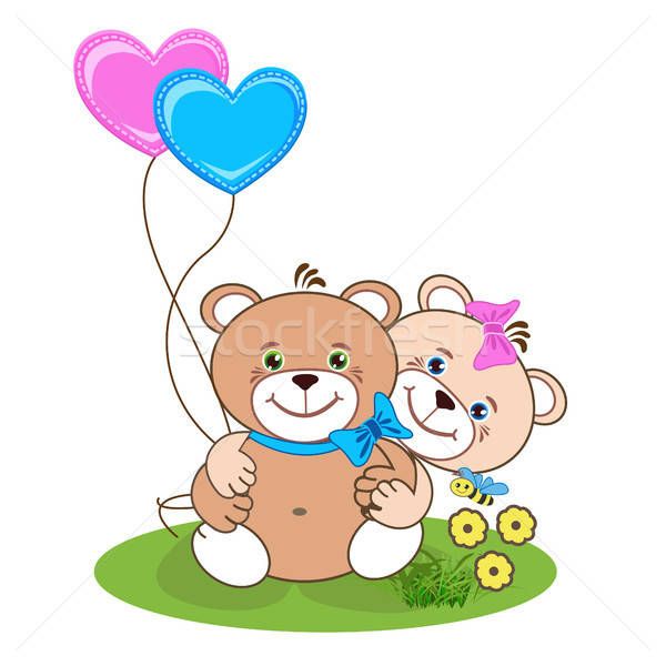 мишка сердце счастливым игрушку животные шаре Сток-фото © bedlovskaya
