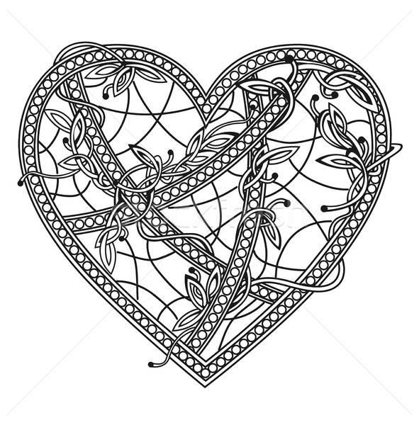 сердце Vintage изолированный белый аннотация черный Сток-фото © bedlovskaya