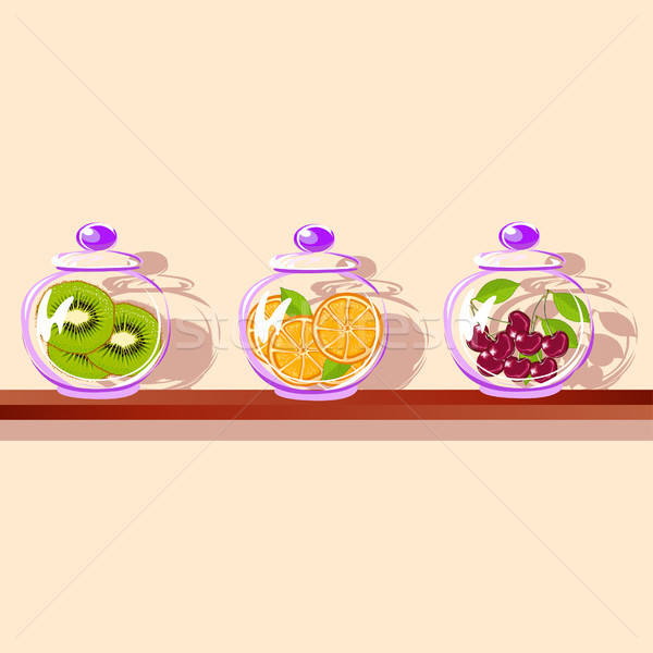 Frutti vetro jar shelf kiwi arancione Foto d'archivio © bedlovskaya