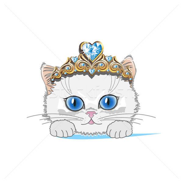 кошки золото тиара синий кристалл моде Сток-фото © bedlovskaya