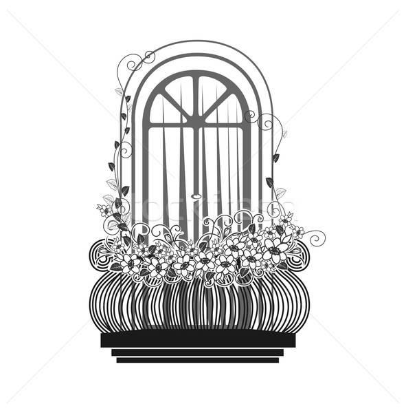 Erkély virágok sziluett virág építkezés üveg Stock fotó © bedlovskaya