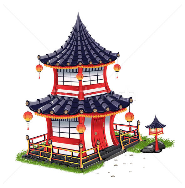 Японский дома крыши плитки трава древесины Сток-фото © bedlovskaya