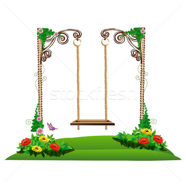 Legno swing giardino fiori sfondo metal Foto d'archivio © bedlovskaya