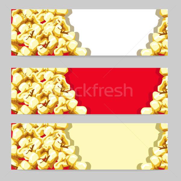 Delicioso bandeira dourado pipoca vetor conjunto Foto stock © bedlovskaya