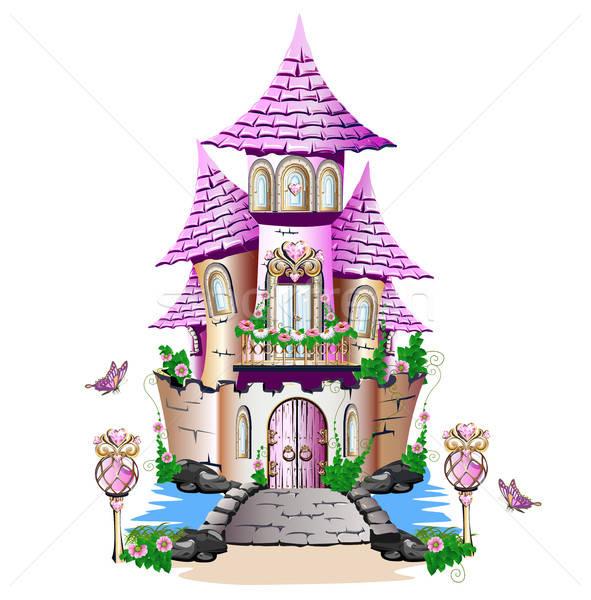 Roze sprookje kasteel gras schoonheid brug Stockfoto © bedlovskaya