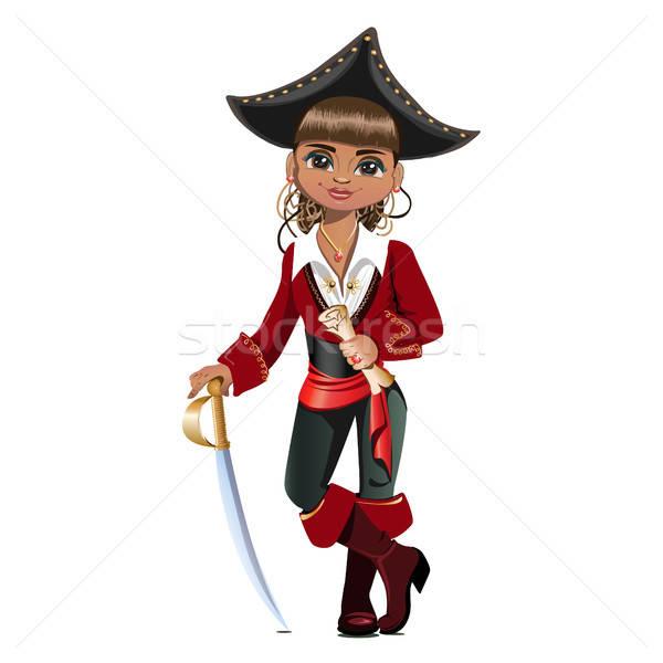 Bella ragazza pirata faccia felice sfondo Foto d'archivio © bedlovskaya