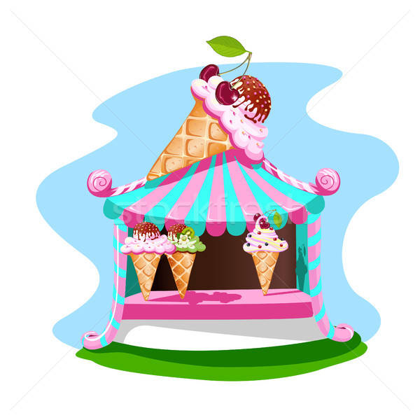 Stock photo: Ice cream stall with tasty decor
