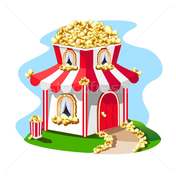 fabulous house made of popcorn with a striped roof Stock photo © bedlovskaya