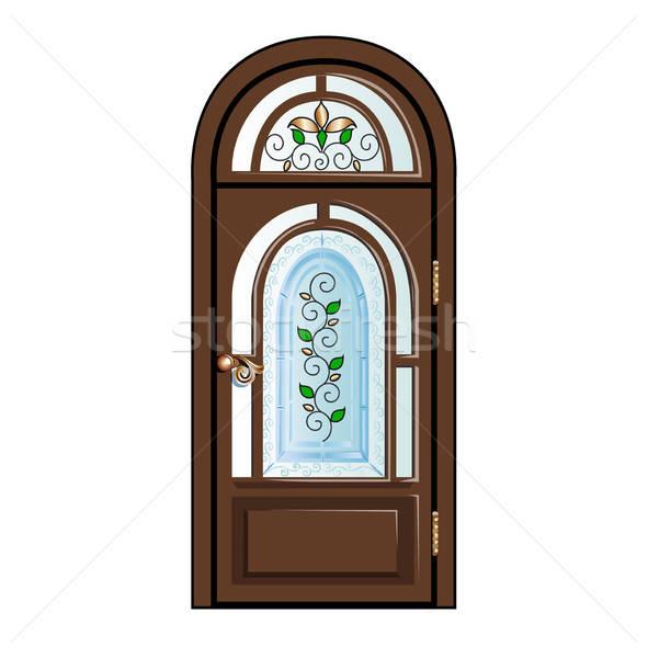 Vintage deur pen venster schilderij mooie Stockfoto © bedlovskaya