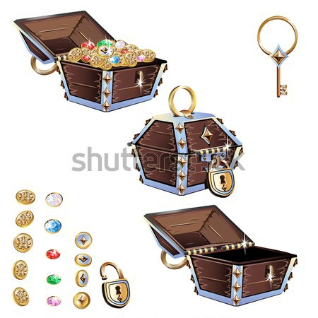 Treasure chest with gold coins and precious stones Stock photo © bedlovskaya