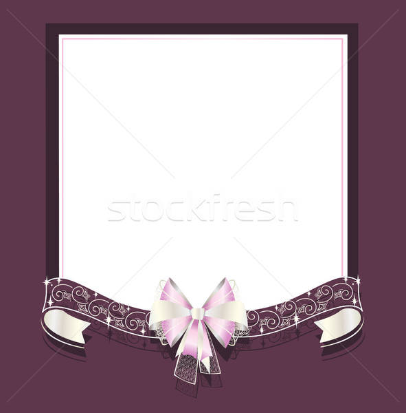Wedding frame with openwork and satin ribbons Stock photo © bedlovskaya