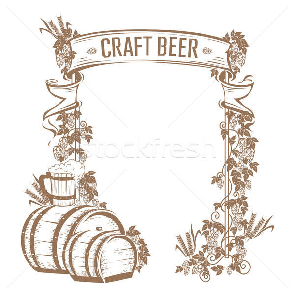 Vintage birra frame stile retrò design bar Foto d'archivio © bedlovskaya
