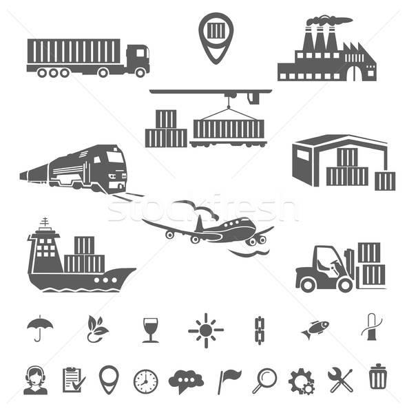 Coleção logística ícones isolamento branco negócio Foto stock © bedlovskaya