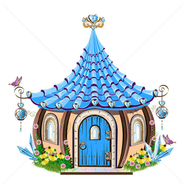 Sprookje huis Blauw gras schoonheid Stockfoto © bedlovskaya