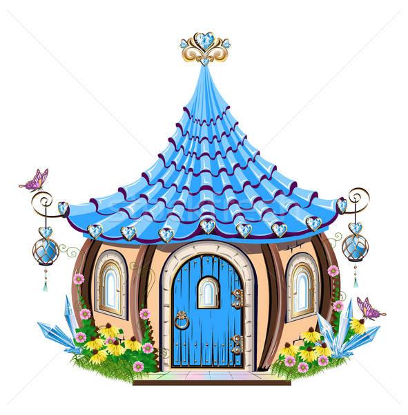 fairytale house with blue crystals Stock photo © bedlovskaya