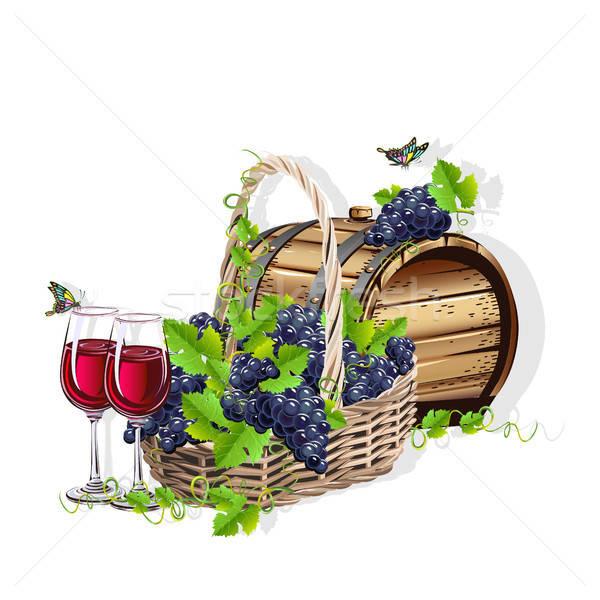 Vinho natureza morta realista cesta uvas vidro Foto stock © bedlovskaya