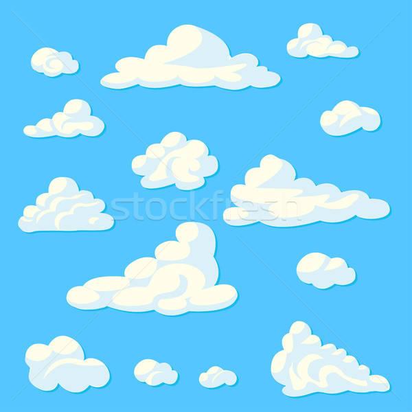 Cartoon wolken ingesteld Blauw voorjaar abstract Stockfoto © bedlovskaya