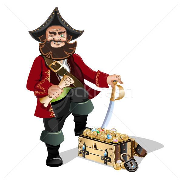 Schatkist piraat sleutel goud slot kaart Stockfoto © bedlovskaya