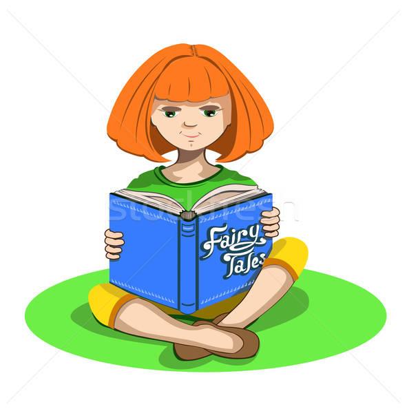 Meisje boek fairy gezicht ontspannen Rood Stockfoto © bedlovskaya