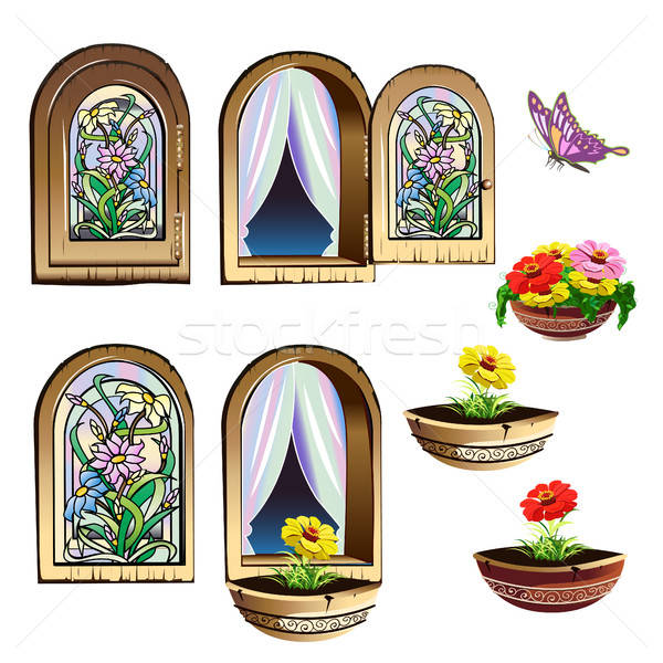 stained glass window set Stock photo © bedlovskaya