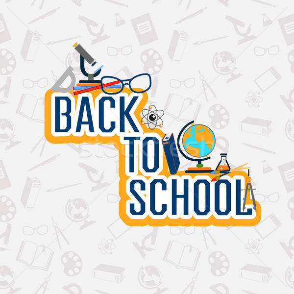 Back to school color background with school subjects Stock photo © bedlovskaya