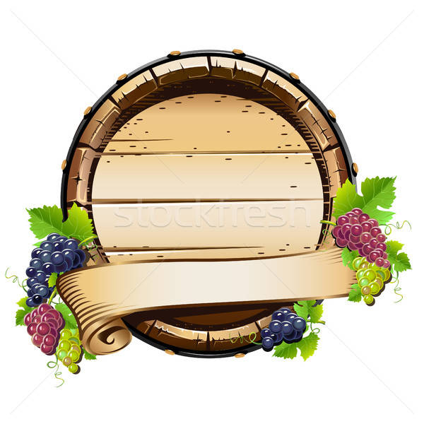 Wine barrel with bunches of grapes Stock photo © bedlovskaya